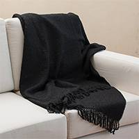 100% alpaca throw, 'Andean Comfort in Black' - 100% Alpaca Throw Blanket in Solid Black from Peru