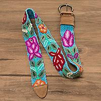 Suede accented wool belt, 'Paradise of Flowers' - Hand-Crocheted Floral Suede Accent Wool Blend Belt from Peru