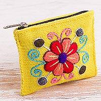 Alpaca blend coin purse, 'Maize Flower' - Embroidered Floral Maize Alpaca Blend Coin Purse from Peru