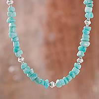 Aventurine beaded necklace, 'Sky Fashion' - Aventurine and Sterling Silver Beaded Necklace