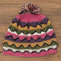 100% alpaca hat, 'Colors of the Mountains' - Hand-Crocheted Colorful 100% Alpaca Hat from Peru
