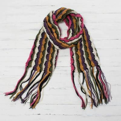 100% alpaca scarf, 'Colors of the Mountain' - Hand-Crocheted Colorful 100% Alpaca Wrap Scarf from Peru