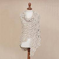 100% alpaca shawl, 'Colonial Beige' - Hand-Crocheted Beige 100% Alpaca Shawl from Peru
