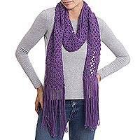 100% alpaca scarf, 'Royal Crochet' - Hand-Crocheted 100% Alpaca Wrap Scarf in Imperial Purple