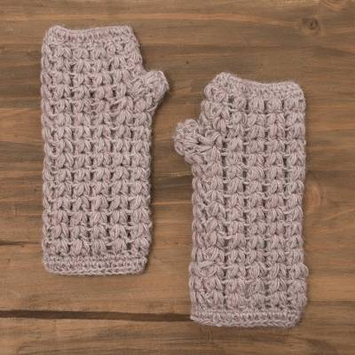 100% alpaca fingerless gloves, 'Pale Mauve Dream' - Hand-Crocheted 100% Alpaca Fingerless Gloves in Pale Mauve