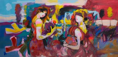 'Florida Vista' - Colorful Expressionist Painting of Two Women from Peru