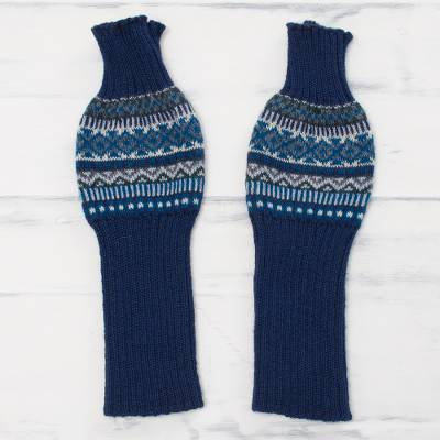 Alpaca blend arm warmers, 'Indigo Comfort' - Knit Alpaca Blend Arm Warmers in Indigo from Peru
