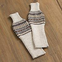 Alpaca blend arm warmers, 'Warm Ivory' - Knit Alpaca Blend Arm Warmers in Ivory from Peru