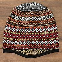 Alpaca blend knit hat, 'Bright Diamonds' - White and Multicolored Alpaca Blend Knit Hat from Peru