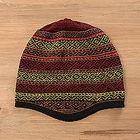 Alpaca blend knit hat, 'Striking Diamonds' - Multicolored Alpaca Blend Knit Hat from Peru