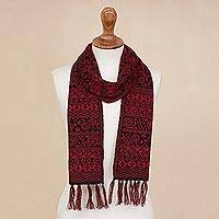 Alpaca blend scarf, 'Crimson World' - Knit Alpaca Blend Wrap Scarf in Crimson and Black from Peru