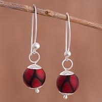 Art glass dangle earrings, 'Murano Passion' - Red Murano Art Glass Dangle Earrings from Peru