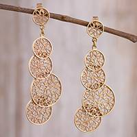 Gold plated sterling silver filigree dangle earrings, 'Sunset Circles' - Circular Gold Plated Sterling Silver Filigree Earrings
