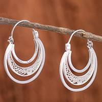 Sterling silver filigree hoop earrings, 'Artisanal Crescent Moons' - Sterling Silver Filigree Hoop Earrings from Peru