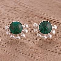 Chrysocolla button earrings, 'Bauble Delight' - Circular Chrysocolla Button Earrings from Peru