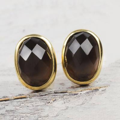 Gold accented obsidian button earrings, 'Faceted Depths' - Obsidian and 18K Gold Plated Sterling Silver Button Earrings