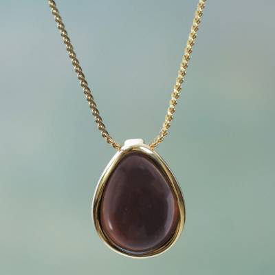 Gold plated obsidian pendant necklace, 'Dusky Glow' - Obsidian Pendant Necklace 18K Gold Plated Sterling Silver