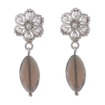 Faceted Obsidian and Sterling Silver Flower Dangle Earrings