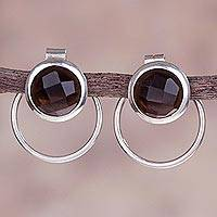 Obsidian dangle earrings, 'Encircled' - Circle Obsidian and Sterling Silver Two-in-One Drop Earrings