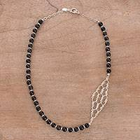 Obsidian beaded necklace, 'Dark Colony' - Obsidian Beaded Necklace with Link Pendant from Peru