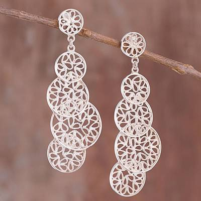 Sterling silver filigree dangle earrings, 'Moonlight Circles' - Circle Motif Sterling Silver Filigree Dangle Earrings