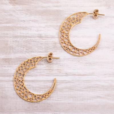 Gold plated sterling silver filigree half-hoop earrings, 'Glistening Moons' - 24k Gold Plated Sterling Silver Filigree Half-Hoop Earrings
