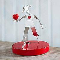 Aluminum sculpture, 'Love Offering' - Aluminum Harlequin Sculpture Offering Red Heart of Love