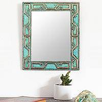 Copper wall mirror, 'Metallic Chan Chan' - Geometric Pattern Copper Wall Mirror Crafted in Peru