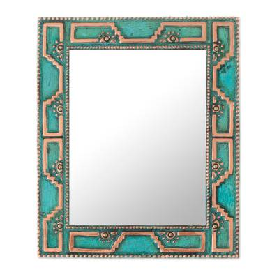 Geometric Pattern Copper Wall Mirror Crafted in Peru
