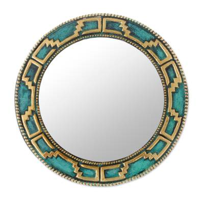 Geometric Bronze and Copper Wall Mirror from Peru