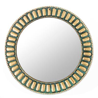 Circular Bronze and Copper Wall Mirror from Peru