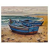 'Sweet Blue Sea' - Signed Realist Painting of Two Blue Boats from Peru