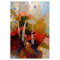 'Bamboo' - Signed Abstract Painting from Peru