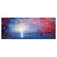'Sunset II' - Ocean-Themed Expressionist Painting in Blue from Peru