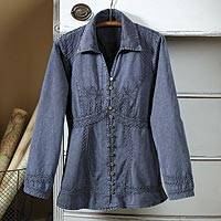 Chambray blouse, 'Lily of The Incas' - Lily of The Incas Button-Front Chambray Blue Blouse