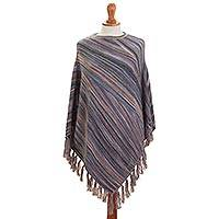 100% alpaca poncho, 'Captivating Stripes in Purple' - Striped 100% Alpaca Poncho in Purple from Peru