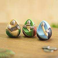 Ceramic figurines, 'Egg Musicians' (set of 3) - Music-Themed Egg-Shaped Ceramic Figurines (Set of 3)