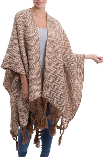 Baby Alpaca Blend Ruana in Burnt Sienna and Ivory from Peru