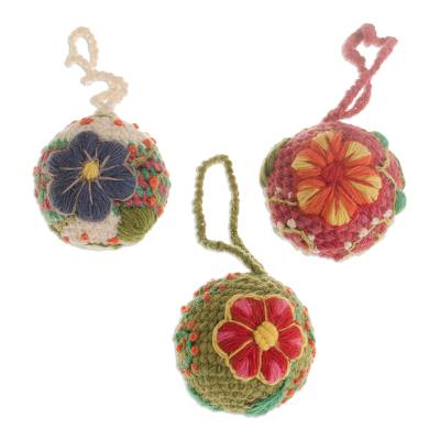 Artisan Crafted Floral Wool Ornaments from Peru (Set of 3)