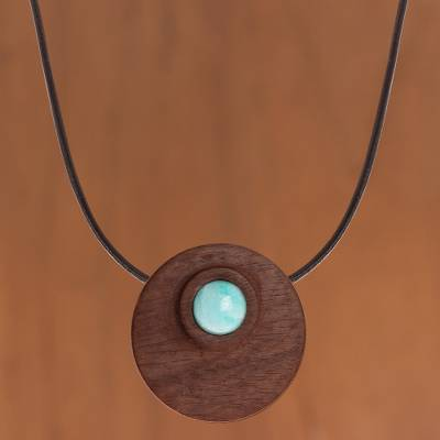 Amazonite and reclaimed wood pendant necklace, 'Amazonite Beauty' - Amazonite and Reclaimed Wood Pendant Necklace from Peru