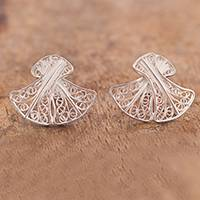 Sterling silver filigree button earrings, 'Beautiful Announcement' - Bell-Shaped Sterling Silver Filigree Button Earrings