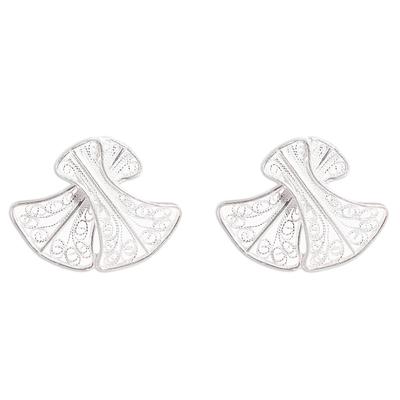 Bell-Shaped Sterling Silver Filigree Button Earrings