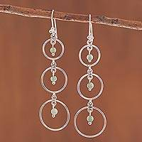 Quartz dangle earrings, 'Sweet Effect' - Circle Pattern Green Quartz Dangle Earrings from Peru