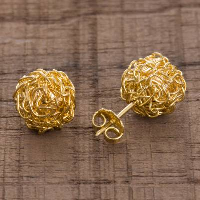 Gold plated sterling silver stud earrings, 'Golden Nests' - 18k Gold Plated Sterling Silver Stud Earrings from Peru