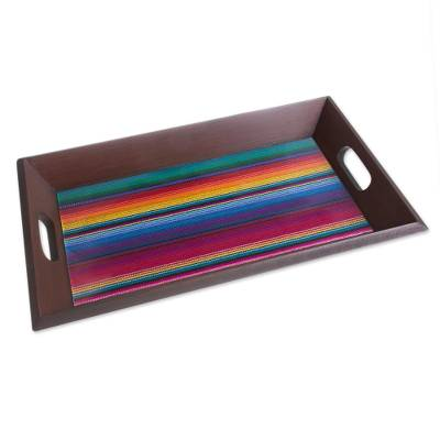 Glass and Wood Tray with Woven Accent from Peru