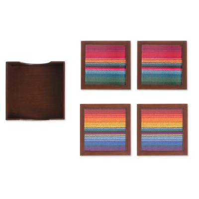 Glass and Wood Coasters with Woven Accent (Set of 4)