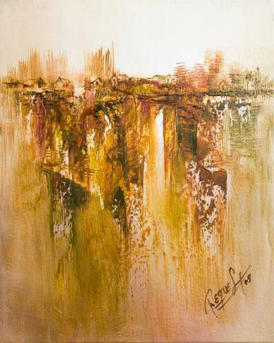 'Urban Abstraction' - Signed Abstract Painting by a Peruvian Artist