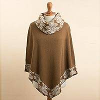 Alpaca blend poncho, 'Glamour Glimpses' - Sepia Brown and Ivory Alpaca Blend Cowl Neck Knit Poncho