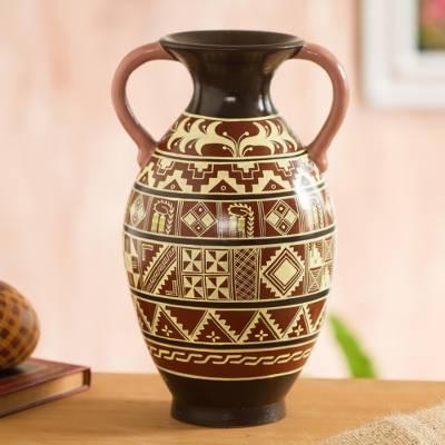 Ceramic decorative vase, Inspired Inca