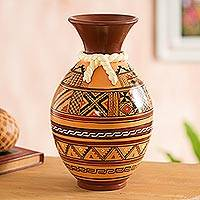 Ceramic decorative vase, 'Inca Mystic' - Inca-Inspired Hand-Painted Ceramic Decorative Vase